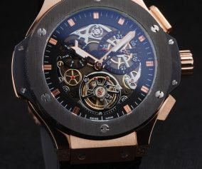 Hublot King Power Tourbillon Black Strap Gold Dial Front View